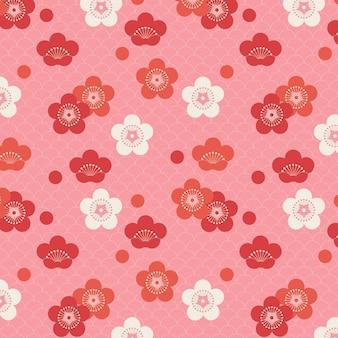 Nahtloses muster der pflaumenblüte in den geometrischen weinleseformen