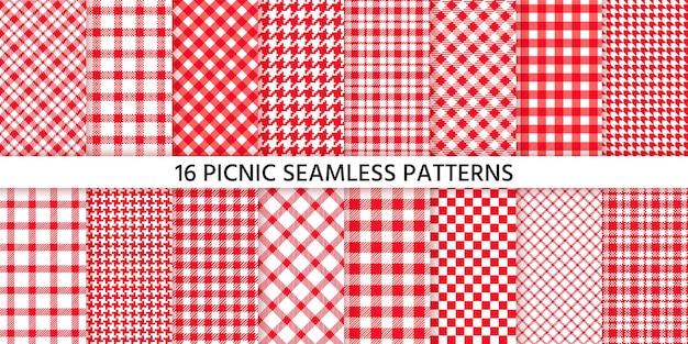 Nahtloses muster der picknicktischdecke. roter gingham-hintergrund. karierte stoffserviettenstrukturen. druck prüfen