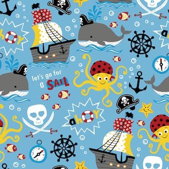 Nahtloses muster der piraten-themenkarikatur