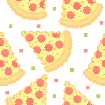 Nahtloses muster der pixeligen pizza