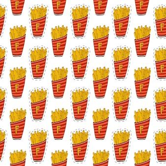 Nahtloses muster der pommes-frites. fast-food-druck. cartoon hintergrund.