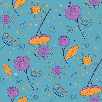 Nahtloses muster der purpurroten und orange blumenweinlese auf blauem hintergrund. flache designillustration des vektors. endlose florale textur. beispiel für geometrischen herbstdesignhintergrund für tapeten, oberflächenstruktur