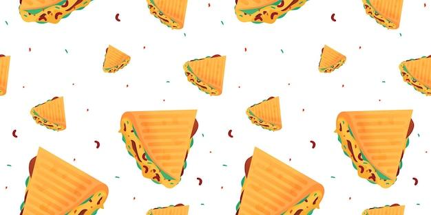Nahtloses muster der quesadilla-karikatur.