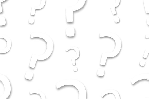 Nahtloses muster der realistischen isolierten papierfrage für einladungsdekoration. konzept von quiz und trivia.