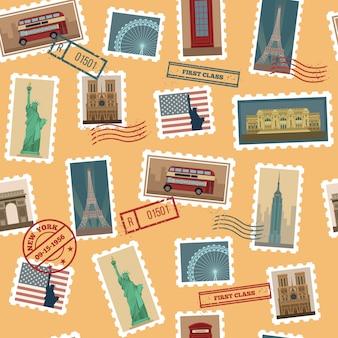 Nahtloses muster der reise-briefmarken