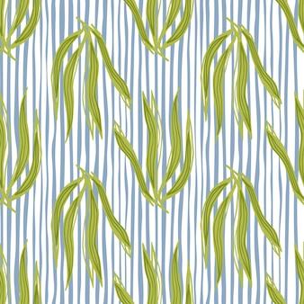 Nahtloses muster der retro- algen auf streifenhintergrund. unterwasser-laub-hintergrund. meerespflanzen tapete. design für stoff, textildruck, verpackung, abdeckung. vektor-illustration.