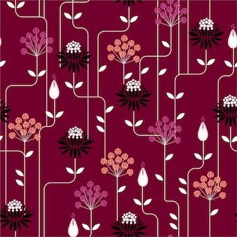 Nahtloses muster der retro- blume in der wiederholungsweinleseart. design für mode auf stoffen, textilien, papier, tapeten und allen drucken