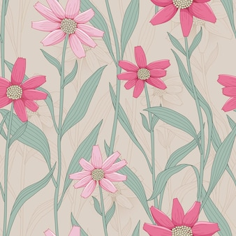Nahtloses muster der retro- blume mit rosa gänseblümchen