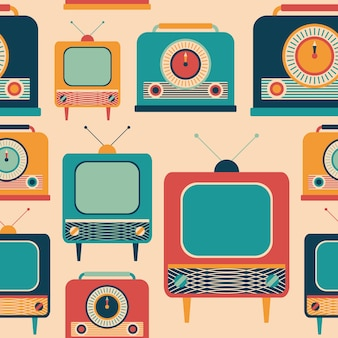 Nahtloses muster der retro- fernsehapparate und der radioempfänger.