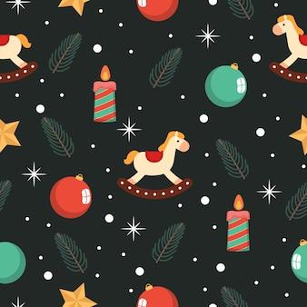 Nahtloses muster der retro- weihnachtsverzierung