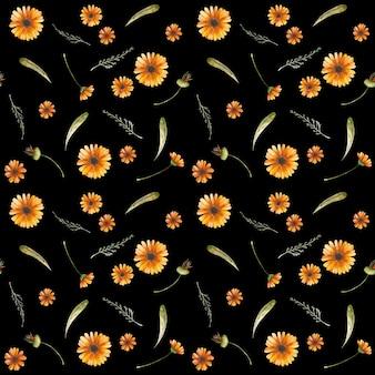 Nahtloses muster der ringelblume. calendula knospen, blütenblätter und blätter. tapeten, geschenkpapier-design