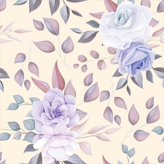 Nahtloses muster der romantischen blume mit lila blumendekoration