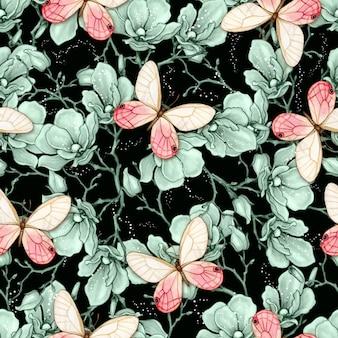 Nahtloses muster der romantischen vintage magnolie und der schmetterlinge