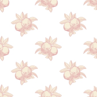 Nahtloses muster der rosa äpfel auf weißem hintergrund. vintage botanische handzeichnung.