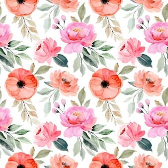Nahtloses muster der rosa blume aquarell mit grünen blättern