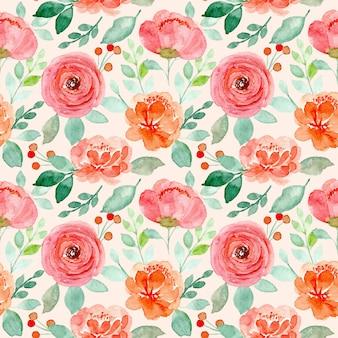 Nahtloses muster der rosa orangefarbenen blumenaquarelle mit grünen blättern