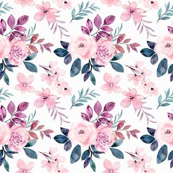 Nahtloses muster der rosa rosenblume mit aquarell