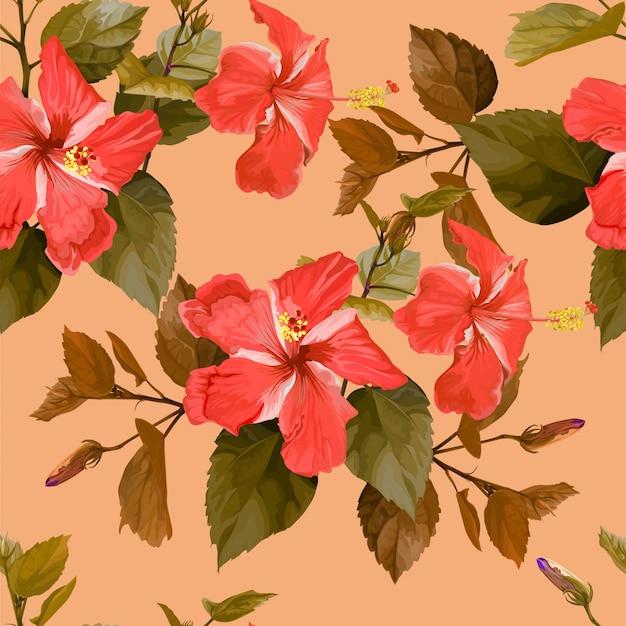 Nahtloses muster der rosa tropischen blume