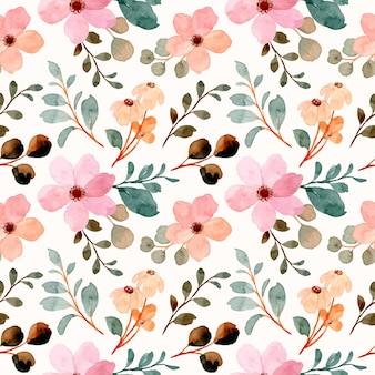 Nahtloses muster der rosa wildblumen mit aquarell