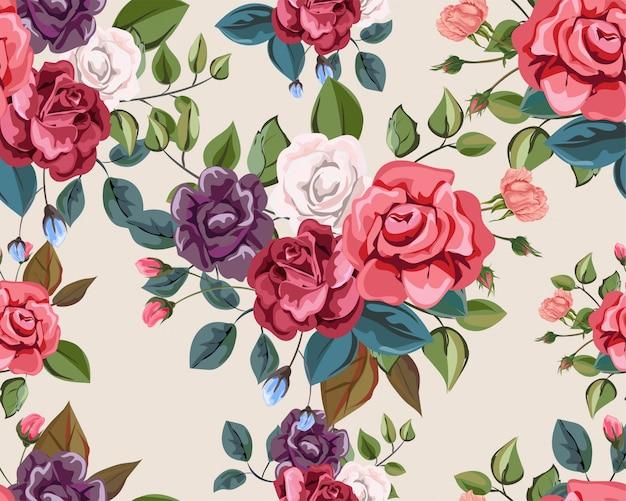 Nahtloses muster der rose retro-arten