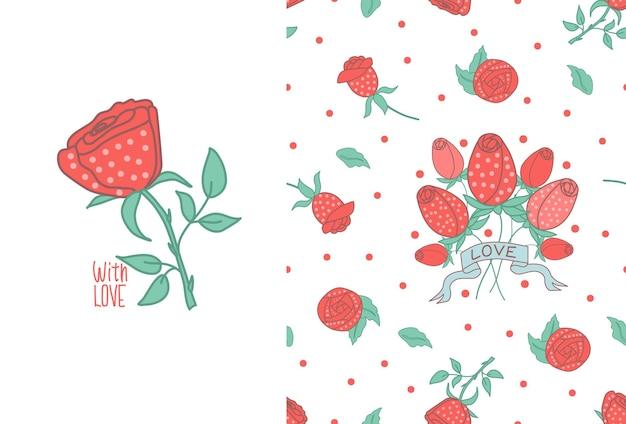 Nahtloses muster der rosen auf weißem hintergrund. rose mit der aufschrift postkarte. vektor-illustration.