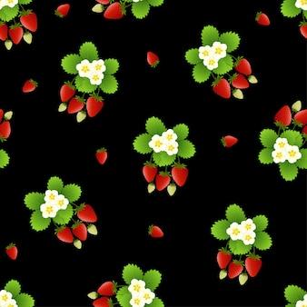 Nahtloses muster der roten erdbeere und der blume