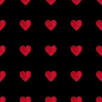 Nahtloses muster der roten herzen des aquarells auf schwarzem hintergrund