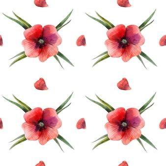 Nahtloses muster der roten mit blumenmohnblume