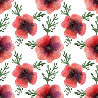 Nahtloses muster der roten mohnblume der wiese