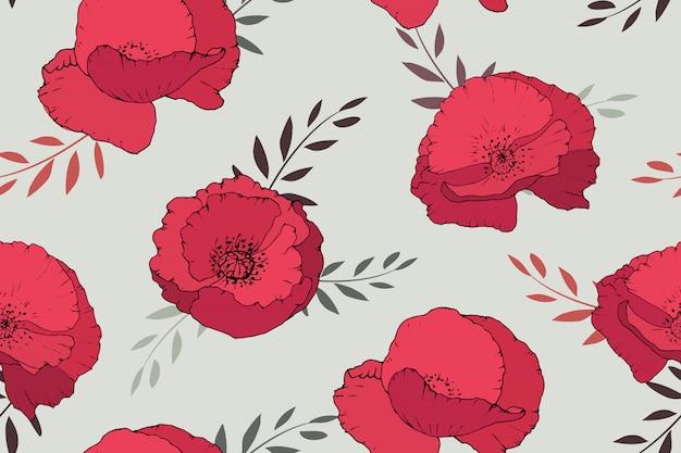 Nahtloses muster der roten mohnblumen auf beige