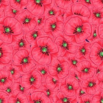 Nahtloses muster der roten mohnblumen und der gänseblümchen. handzeichnung.