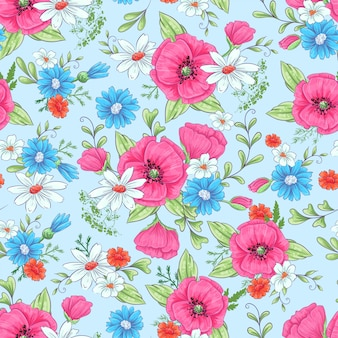 Nahtloses muster der roten mohnblumen und der gänseblümchen.