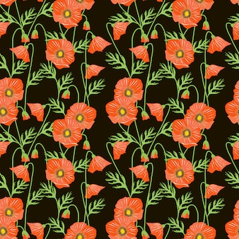 Nahtloses muster der roten mohnblumenblume.
