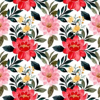 Nahtloses muster der roten rosa blume des aquarells