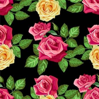 Nahtloses muster der roten rosenblume - vektor