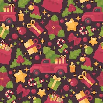 Nahtloses muster der roten und grünen weihnachtselemente