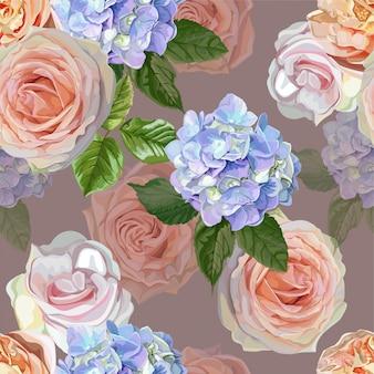 Nahtloses muster der rotrose und der hortensie