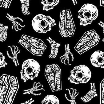Nahtloses muster der schädel- und beinknochen im dunklen hintergrund
