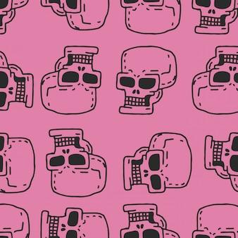 Nahtloses muster der schädelkarikatur. skelettkopf-zeichnungsverzierung.