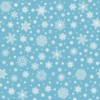 Nahtloses muster der schneeflocken. winterschneeflockensterne, schneeflocken und schneefall