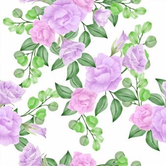 Nahtloses muster der schönen aquarellblumenrose