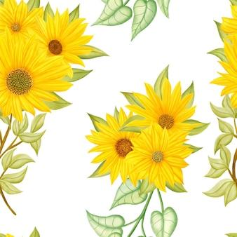 Nahtloses muster der schönen aquarellsonnenblume