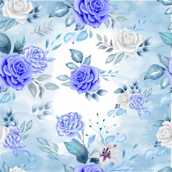 Nahtloses muster der schönen blume und der blätter im klassischen blau
