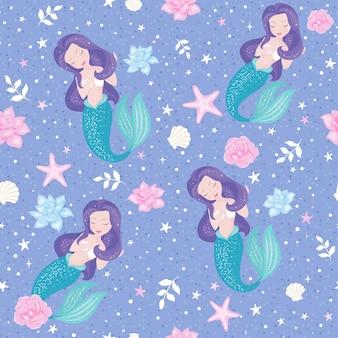 Nahtloses muster der schönen lila meerjungfrau