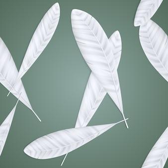 Nahtloses muster der schönen weißen weißen federn im schatten