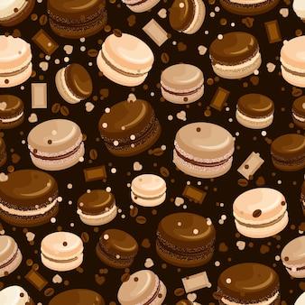Nahtloses muster der schokoladenmakrone und des kaffees