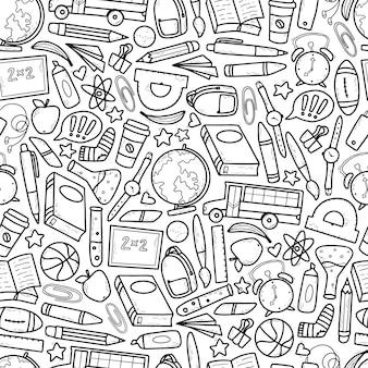 Nahtloses muster der schule mit skizzierten kritzeleien