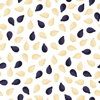 Nahtloses muster der schwarzen und weißen sesammischungsvektorkarikatur für vorlagenbauernmarktdesign, -etikett und -verpackung.