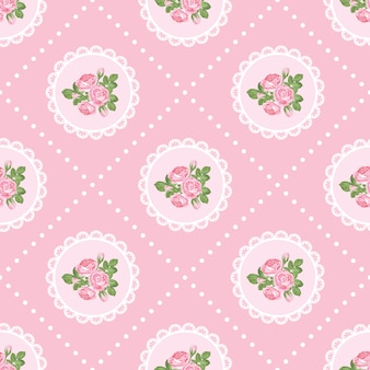 Nahtloses muster der shabby chic rose