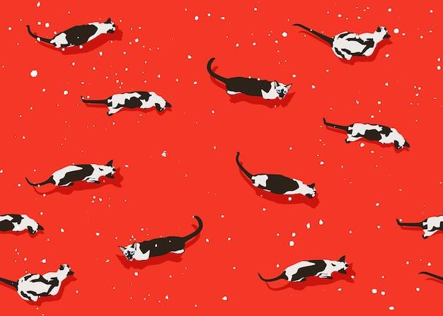 Nahtloses muster der siamesischen katze auf rotem snowy hintergrund